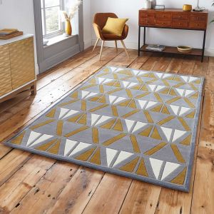 Think Rugs Hong Kong 1374 Grey/Yellow Rug