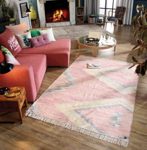 260 Zigzag Kelim Berry Vintage Wool Rug by Tom Tailor