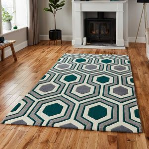 Think Rugs Hong Kong 3661 Grey/Green Rug