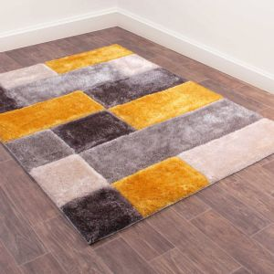 3D Carved Blocks Ochre Shaggy Rug by Ultimate Rug