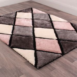 3D Carved Diamond Blush Shaggy Rug by Ultimate Rug