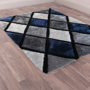3D Carved Diamond Navy Shaggy Rug by Ultimate Rug