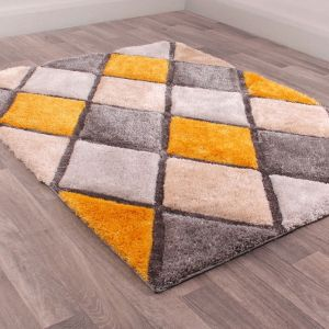3D Carved Diamond Ochre Shaggy Rug by Ultimate Rug