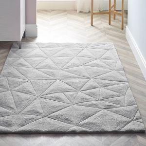 3D Triangles Grey Wool Rug by Origins