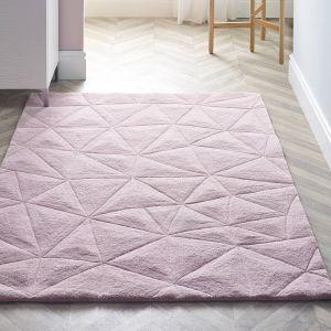 3D Triangles Pink Wool Rug by Origins