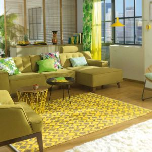 850 Geometric Yellow Smooth Comfort Rug by Tom Tailor