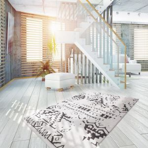 Agadir 110 White/Black Shaggy Rug by Kayoom