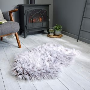 Anja Faux Fur Helsinki Brown Shaggy Plain Rug by Flair Rugs