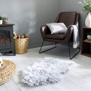 Anja Faux Fur Helsinki Grey Shaggy Plain Rug by Flair Rugs