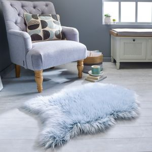Anja Faux Fur Helsinki Teal Shaggy Plain Rug by Flair Rugs