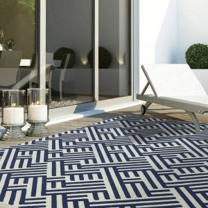 Antibes AN04 Blue White Linear Rug by Asiatic