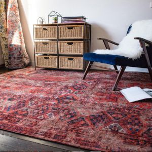 Antique Hadschlu 8719 7-8-2 Red Rug by Louis De Poortere
