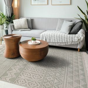 Anya 01 Ivory Mint Geometric Rug by Concept Looms