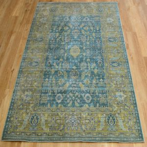 Aqua Silk E309c Green/Blue Floral Rug by Mastercraft