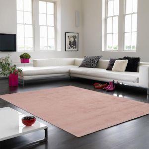 Aran Rose Pink Plain Luxury Wool Rug By Aisatic 1