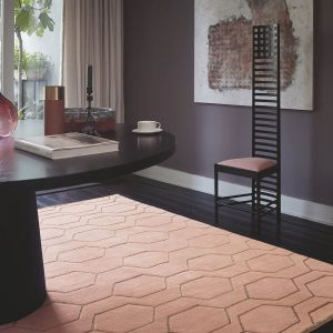 Arris 37302 Pink Geometric Hand Tufted Wool Rug by Wedgwood