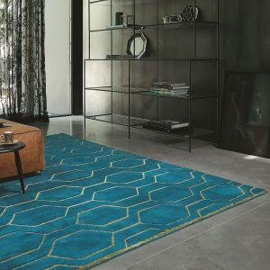 Arris 37307 Teal Geometric Hand Tufted Wool Rug by Wedgwood