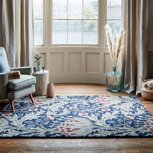 Artichoke 127108 Mineral Floral Rug by Morris & Co.