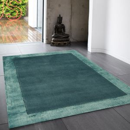 Ascot Aqua Blue Bordered Wool Rug by Asiatic 1