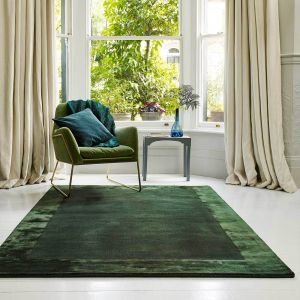 Ascot Green Bordered Wool Rug by Asiatic