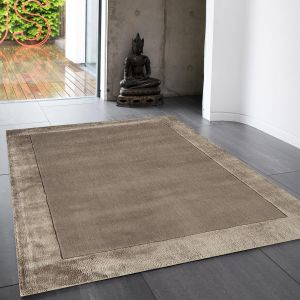 Ascot Taupe Bordered Wool Rug by Asiatic 1