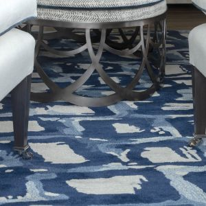 Astia Indigo Handtufted Wool Rug by William Yeoward