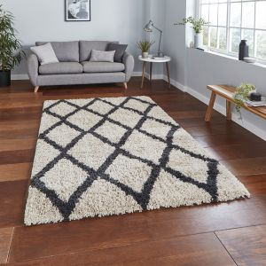 Auckland AK01 Cream Anthracite Shaggy Rug by Think Rugs