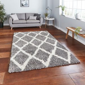 Auckland AK01 Grey Ivory Shaggy Rug by Think Rugs
