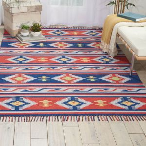 Baja BAJ03 Blue Red Traditional Rug by Nourison