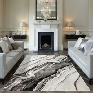 Blaze BLZ01 Silver Grey Abstract Rug by Concept Looms