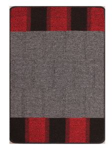 Blocks Red Washable Mat by Rug Style