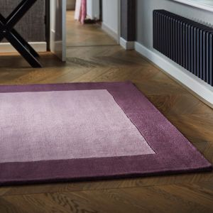 Borders Mauve Wool Rug By Origins