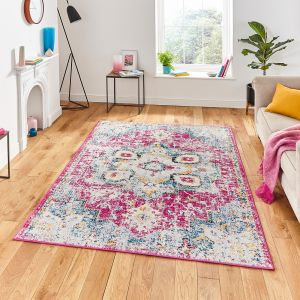 Boston G0532 Fuchsia Blue Geometric Rug by Think Rugs