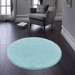 Buddy Baby Blue Washable Plain Circle Rug by Origins