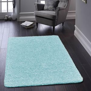 Buddy Baby Blue Washable Plain Rug by Origins