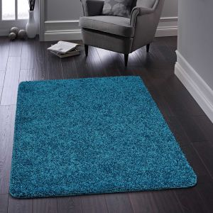 Buddy Teal Washable Plain Rug By Origins
