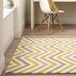 Cabone Yellow Geometric Wool Rug by Origins