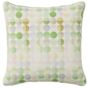 Caquorobert Pink and Green Dotted Cushion by Claire Gaudion