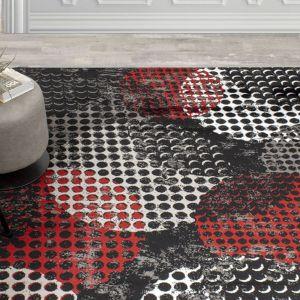 Carnegie Black Red Dotted Rug by Floorita