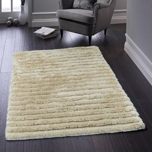 Carved Glamour Natural Shaggy Rug By Origins