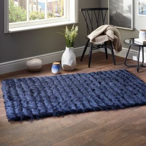 Carved Glamour Navy Shaggy Rug by Origins