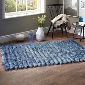 Carved Glamour Steel Blue Shaggy Rug by Origins