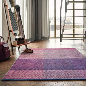 Check 56400 Burgundy Wool Rug by Ted Baker
