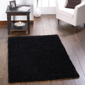 Chicago Black Polyester Plain Rug by Origins