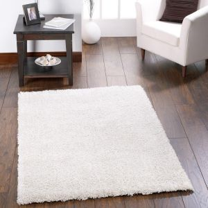 Chicago Cream Polyester Plain Rug by Origins