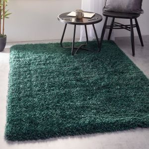 Chicago Forest Green Shaggy Polyester Rug by Origins