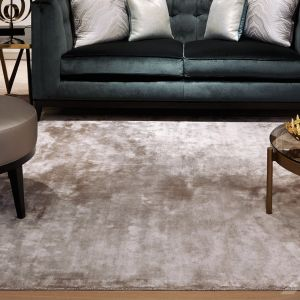 Chrome Latte Plain Rug by Katherine Carnaby