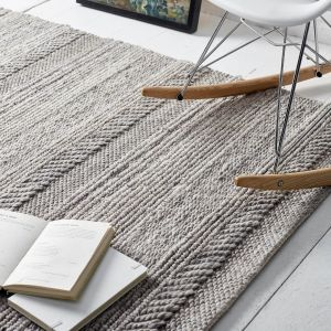 Chunky Knit Grey Wool Rug by Origins
