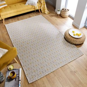 Cotone Bombax Ochre Natural Geometric Rug by Flair Rugs