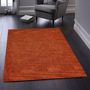 Country Tweed Burnt Sienna Plain Wool Rug by Origins